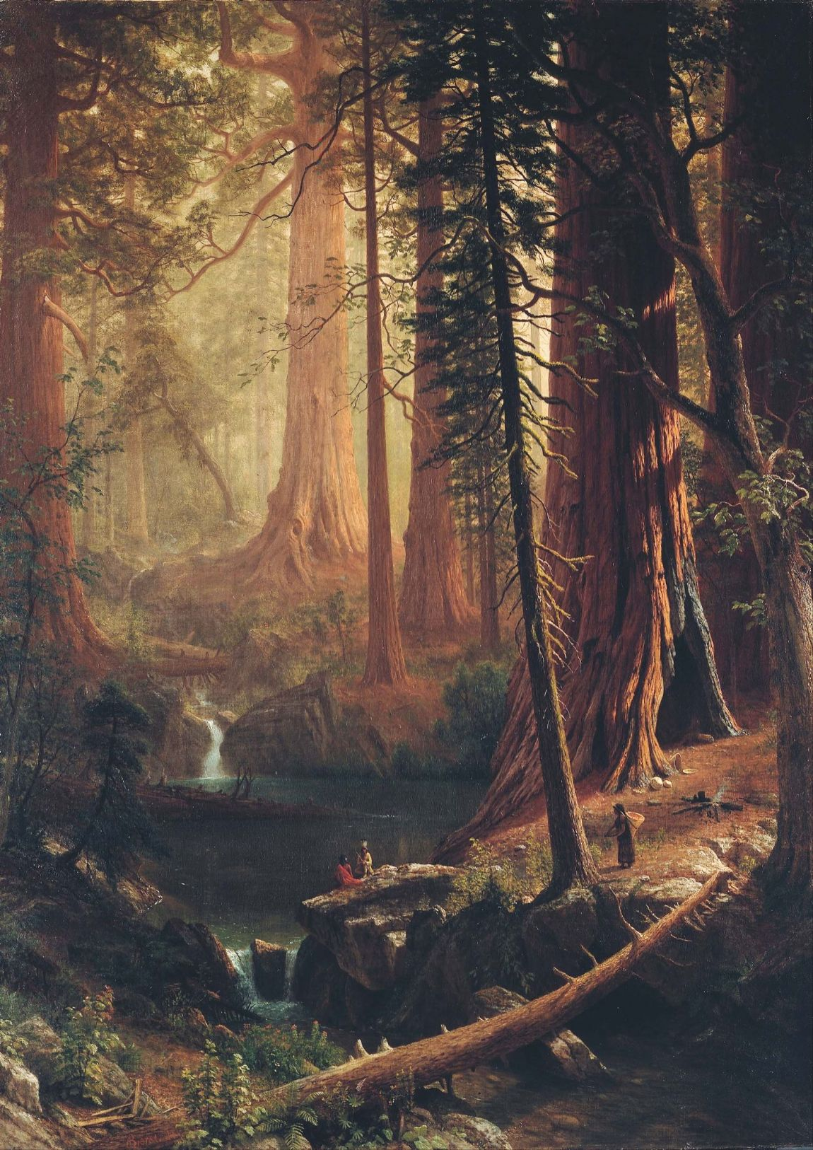Bierstadt, Albert: Giant Redwood Trees of California. Fine Art Print/Poster. Sizes: A4/A3/A2/A1 (004049)